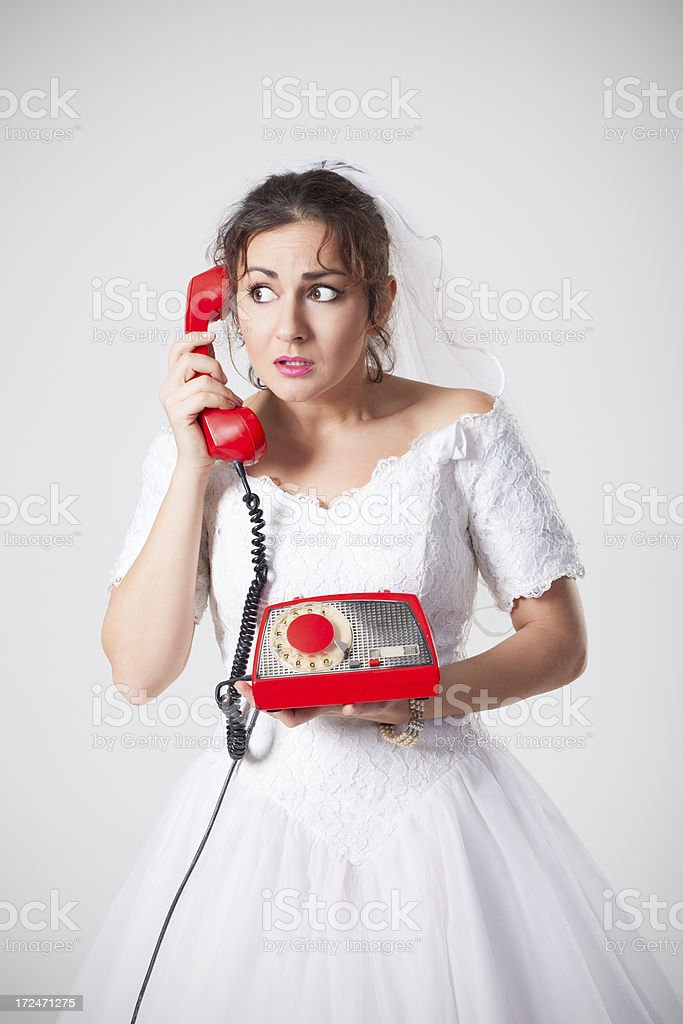 Bride on the phone royalty-free stock photo
