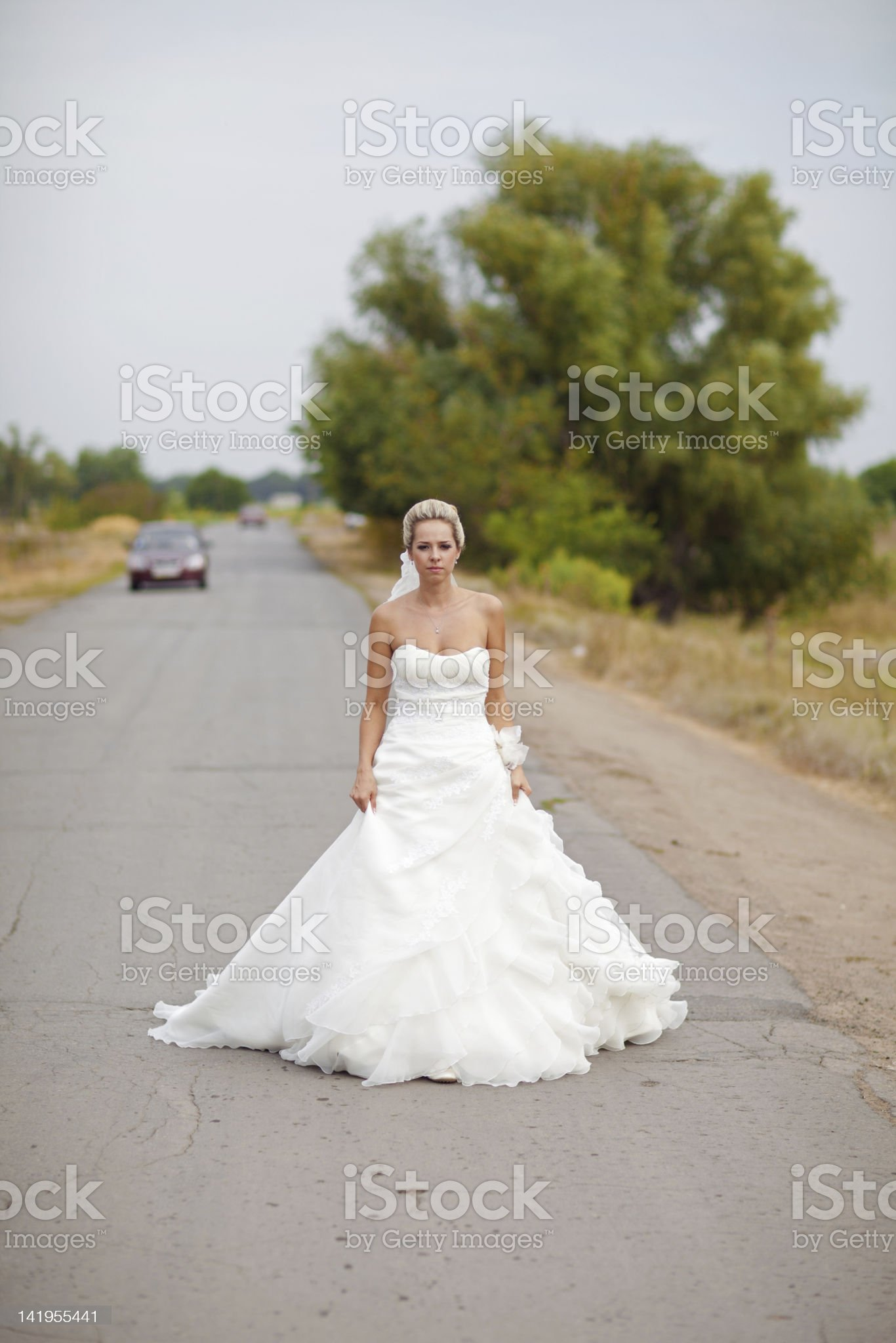 bride on the road royalty-free stock photo
