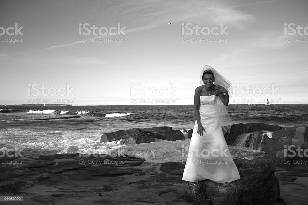 Bride on the rocks royalty-free stock photo