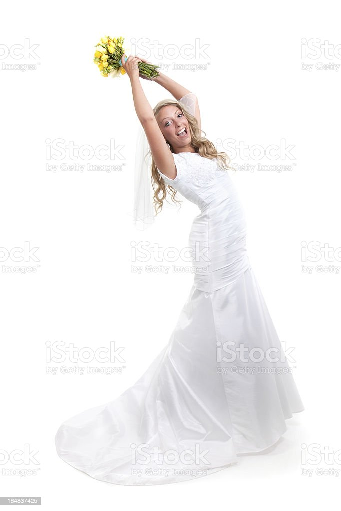 Bride on White Background Throwing Yellow Rose Bouquet stock photo