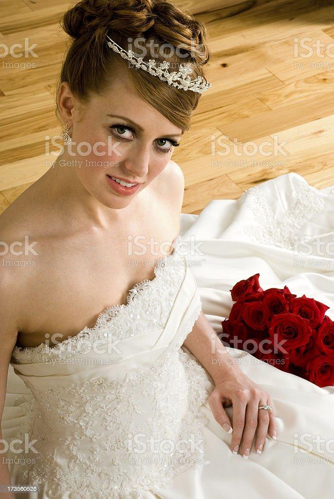 Bride on Wood Floor royalty-free stock photo
