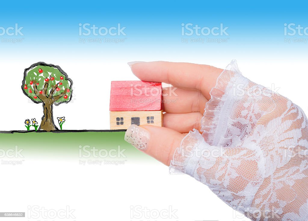 Bride placing  wooden house in a drawing of a garden stock photo