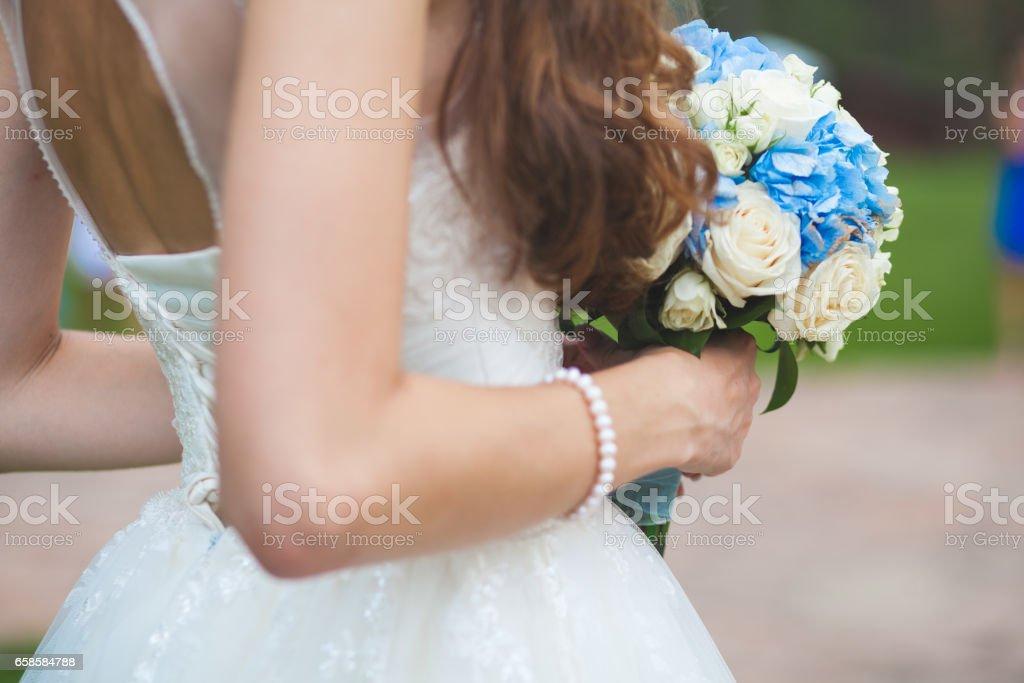 bride portrait with bouqet stock photo