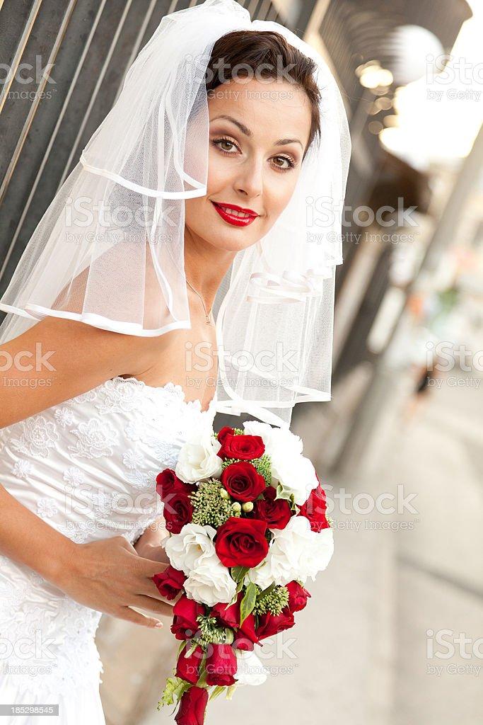 Bride portrait with Bouquet stock photo