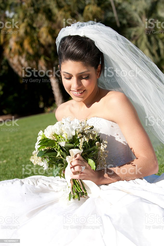 Bride portrait with veil and flowers royalty-free stock photo