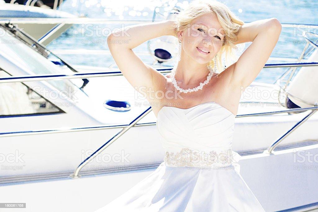 bride posing near the sea royalty-free stock photo