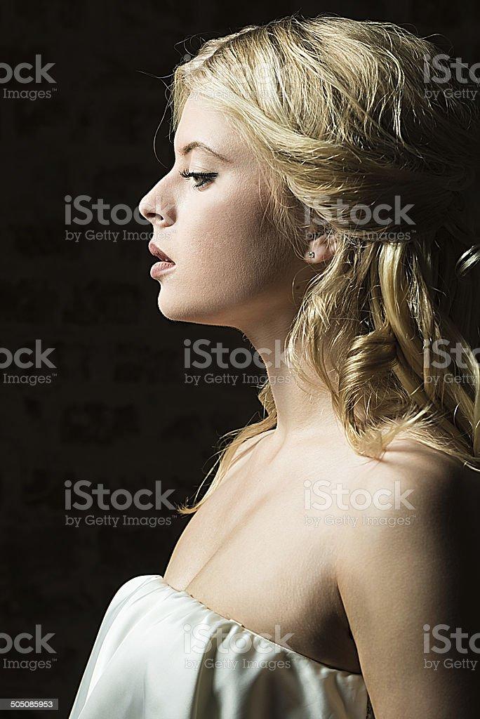 Bride profile stock photo