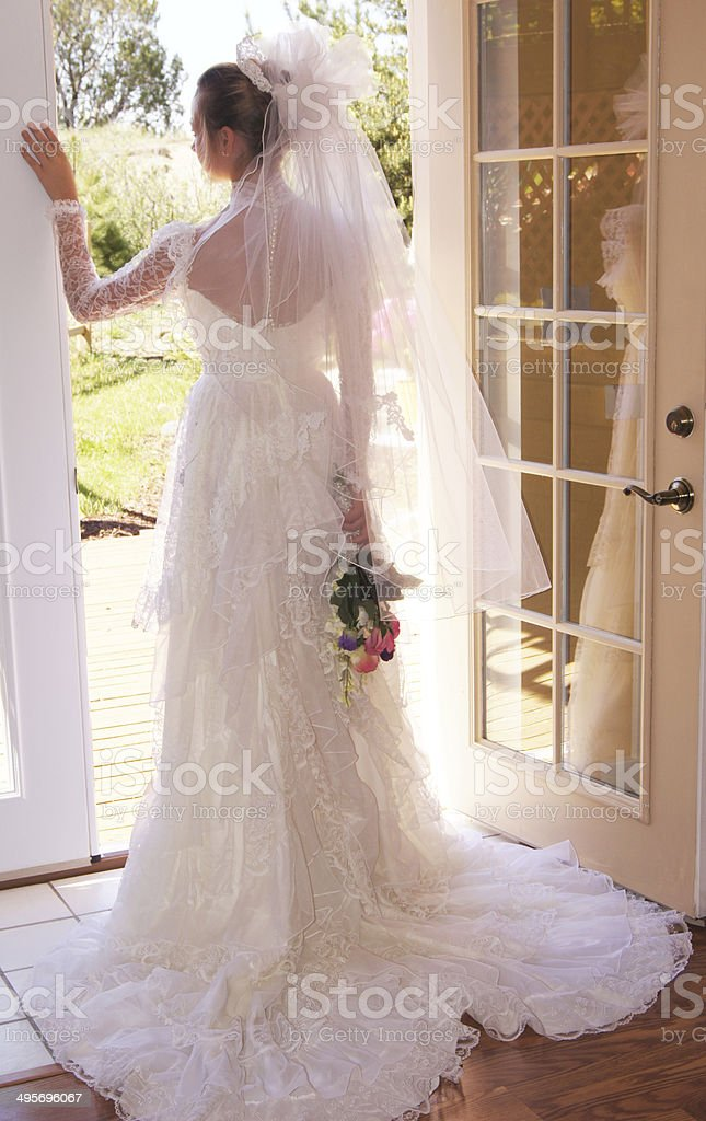 Bride Profile With Gorgeous Dress and Veil stock photo