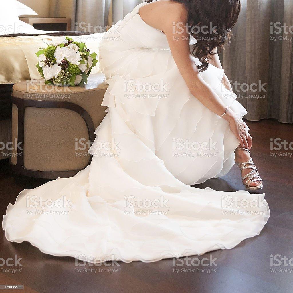 bride shoes stock photo