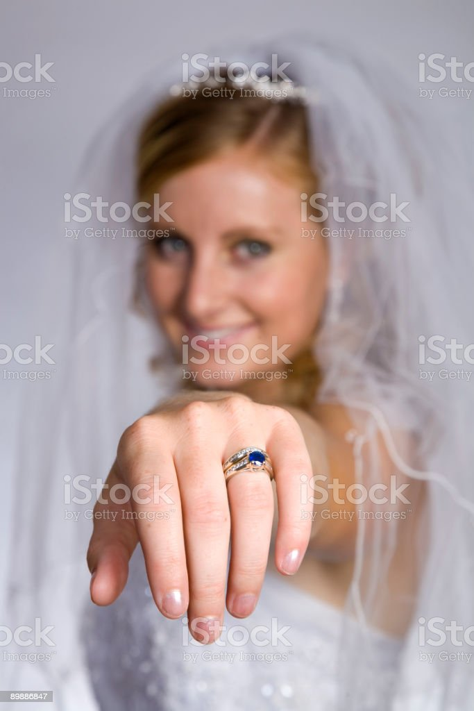 Bride Showing Off Wedding Ring royalty-free stock photo