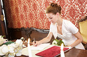 Bride signing the certification