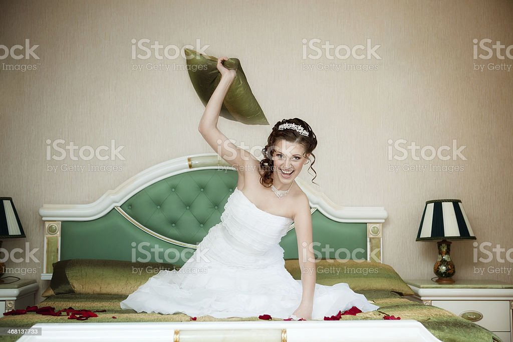 Bride Sitting in the Bedroom. royalty-free stock photo