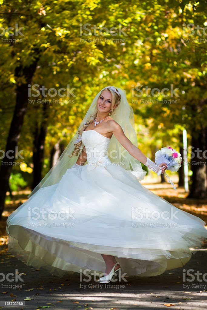 Bride spinning royalty-free stock photo