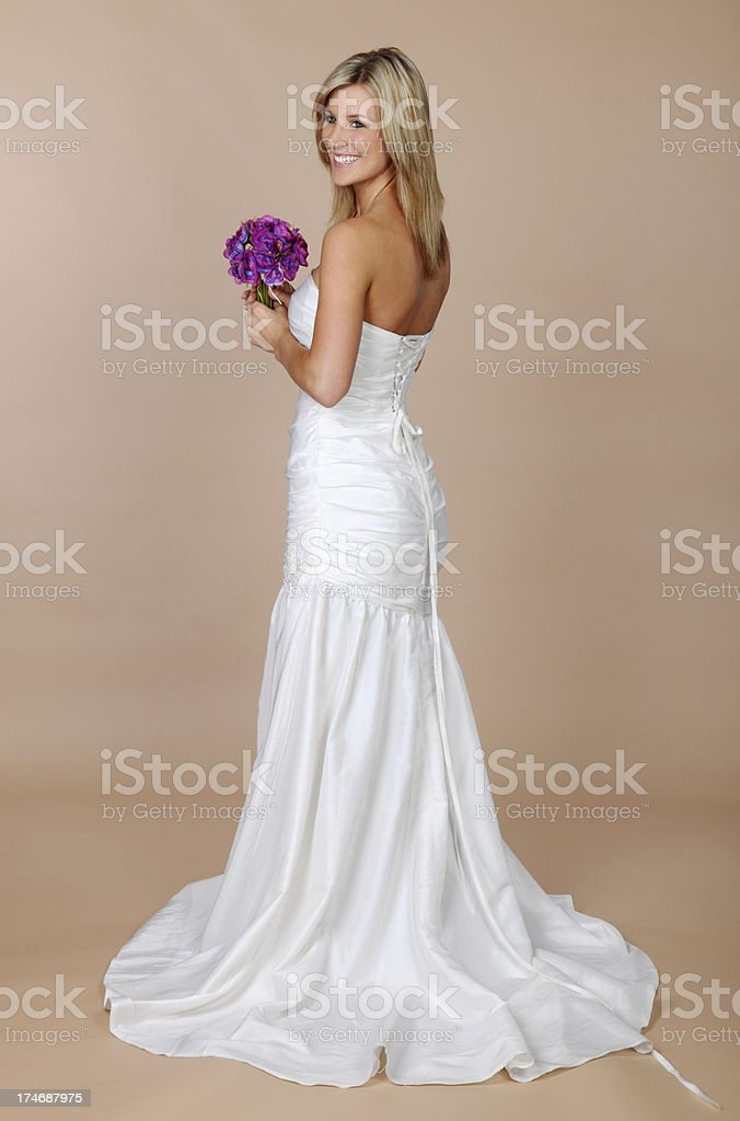 Bride Standing With Bouquet royalty-free stock photo