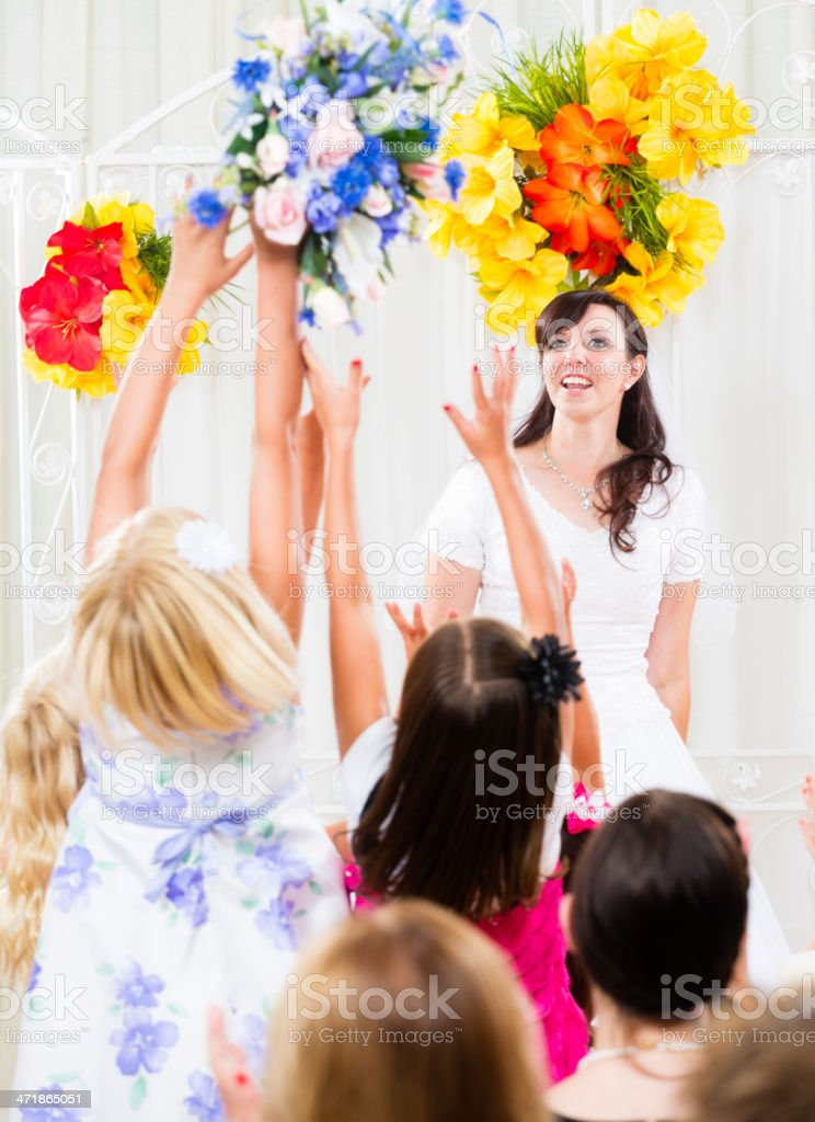 Bride Throwing Bouquet royalty-free stock photo