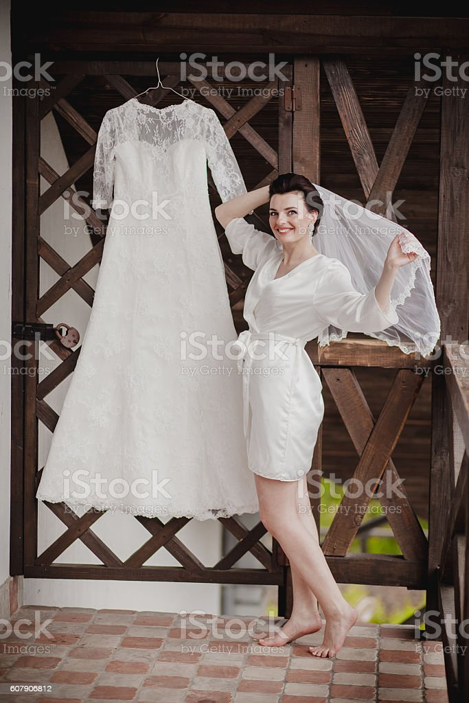bride to wear a wedding dress. stock photo