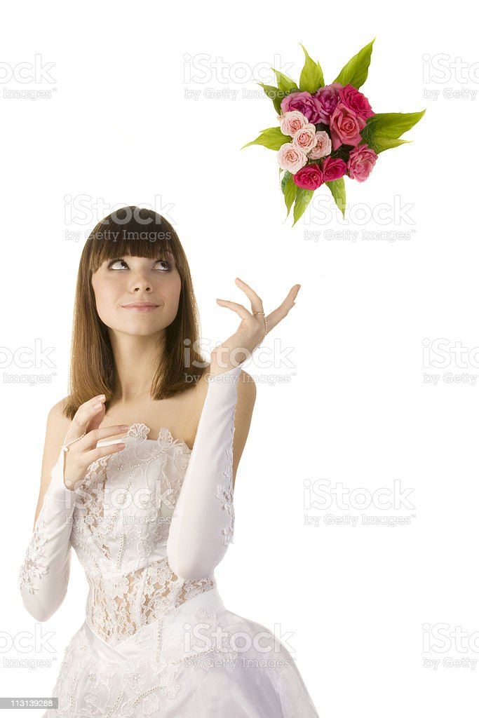 Bride tossing a bouquet. stock photo