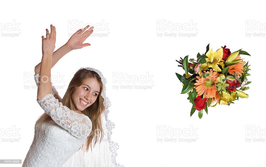 Bride Tossing Bouquet stock photo