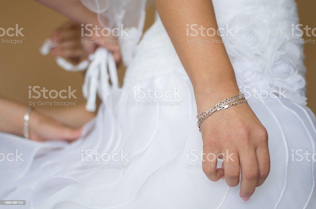 Bride Waiting at Dressing stock photo