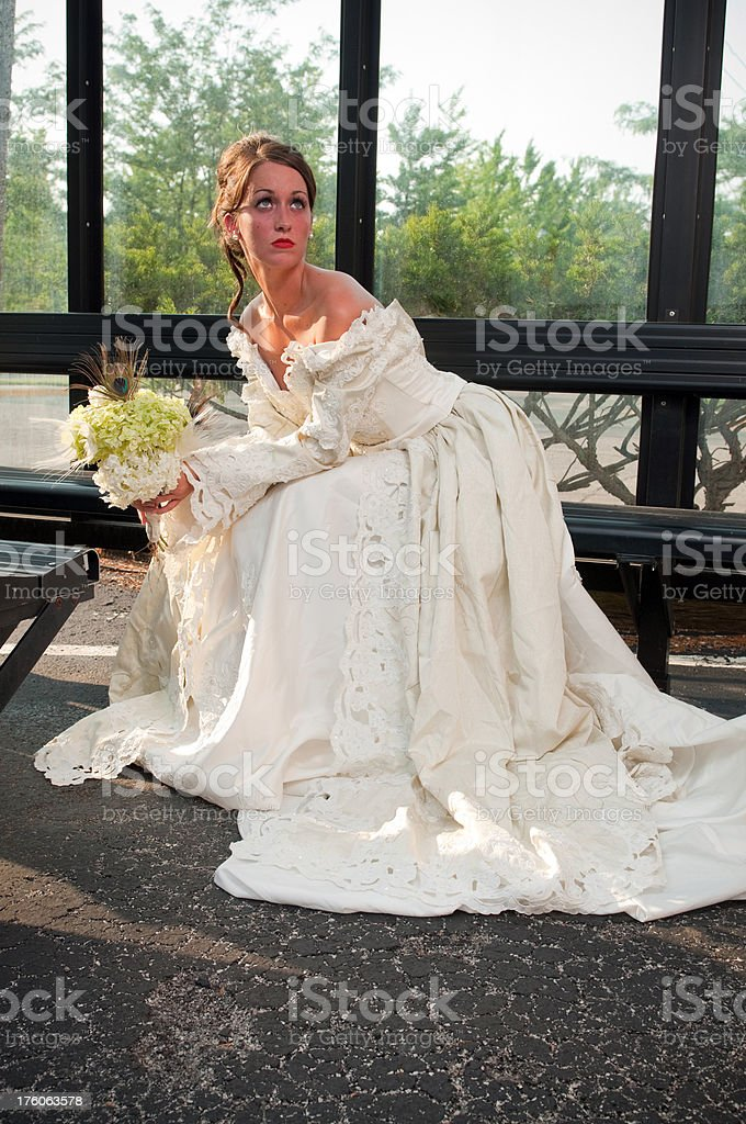 Bride waiting for Bus royalty-free stock photo