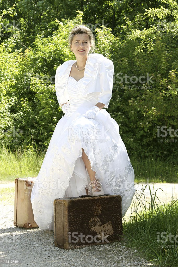 bride waiting for groom stock photo