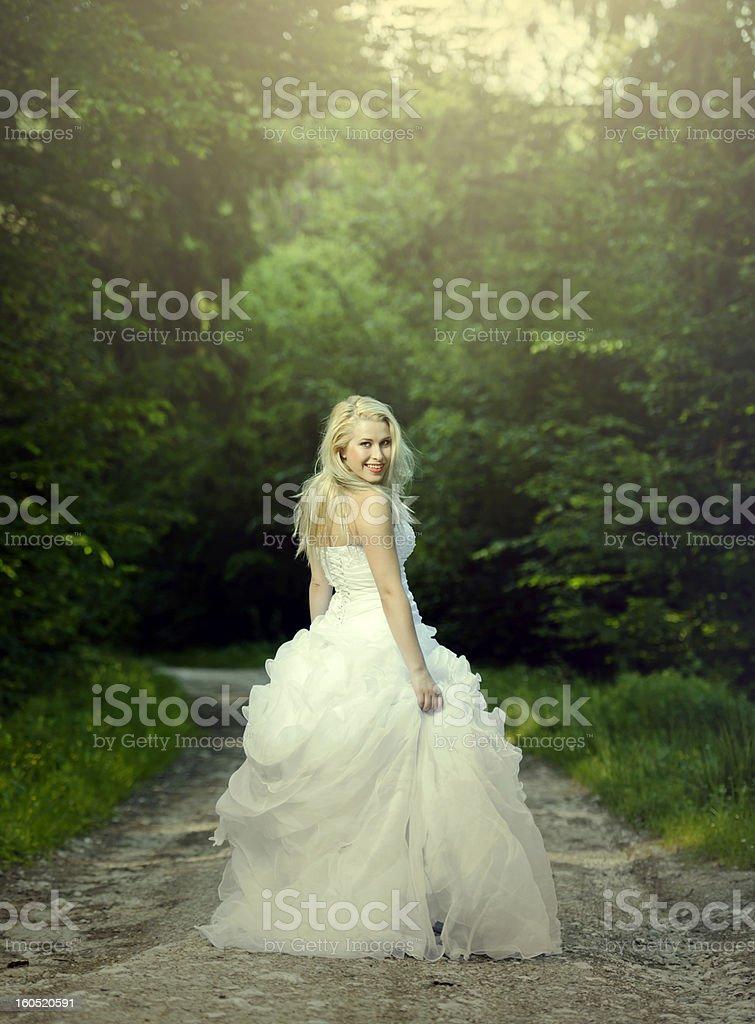 bride walking royalty-free stock photo