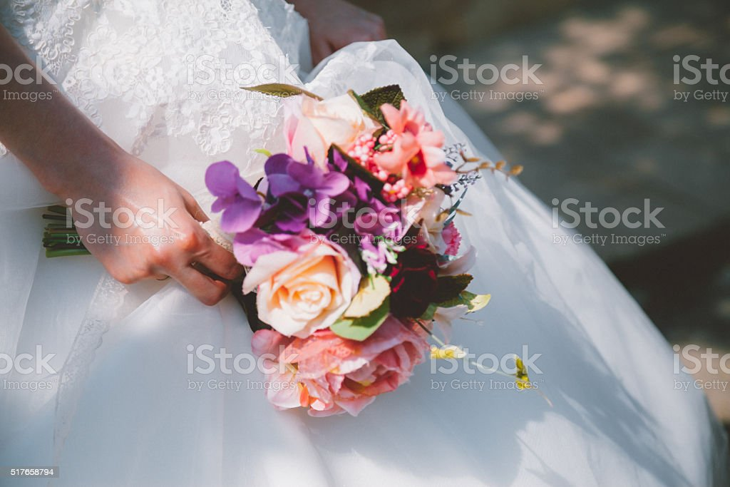 Bride with a bouquet stock photo