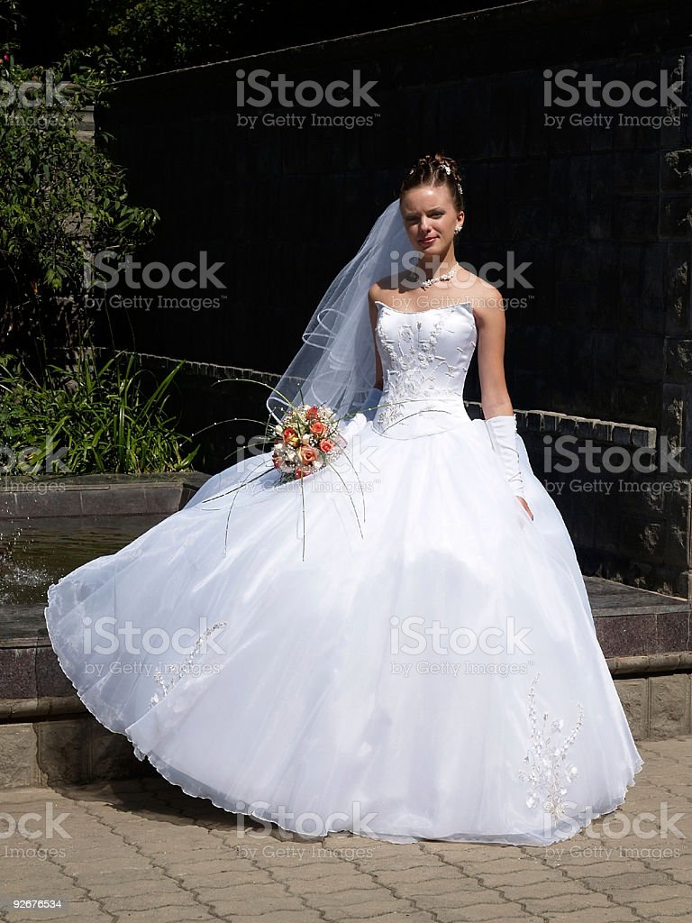 bride with bouquet outdoor royalty-free stock photo