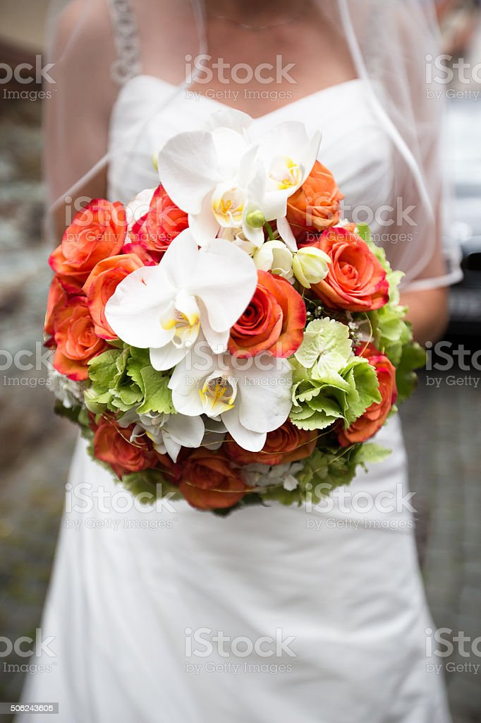 Bride with Bridal Bouquet. Front View. stock photo