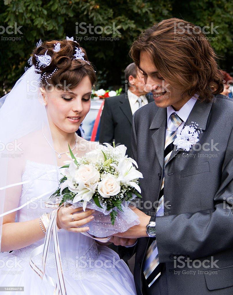 Bride with bridegroom royalty-free stock photo