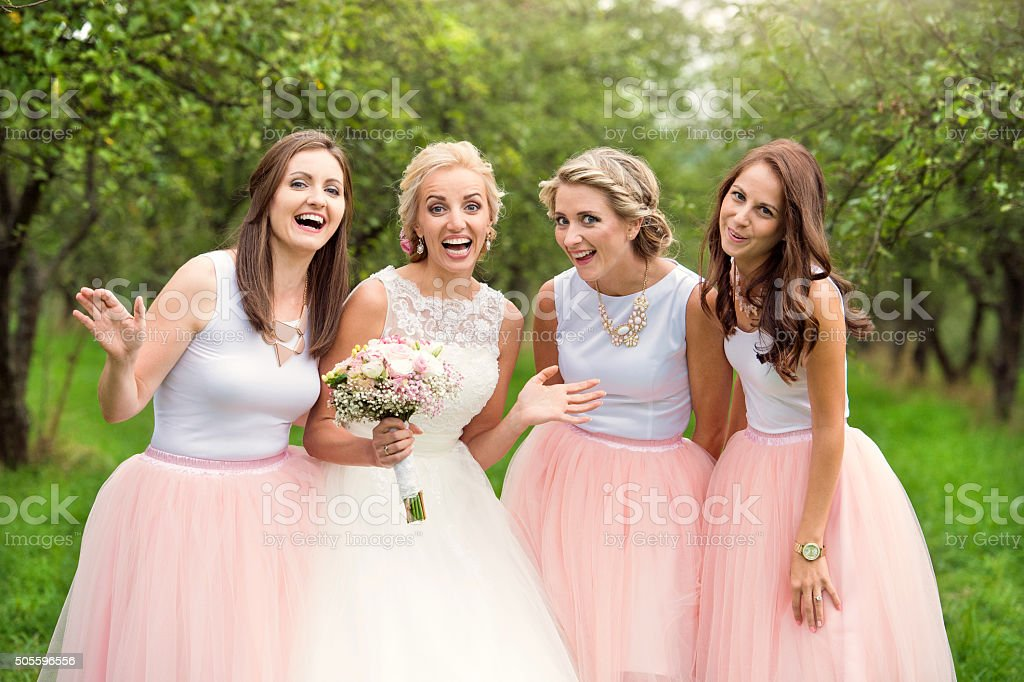 Bride with bridesmaids stock photo