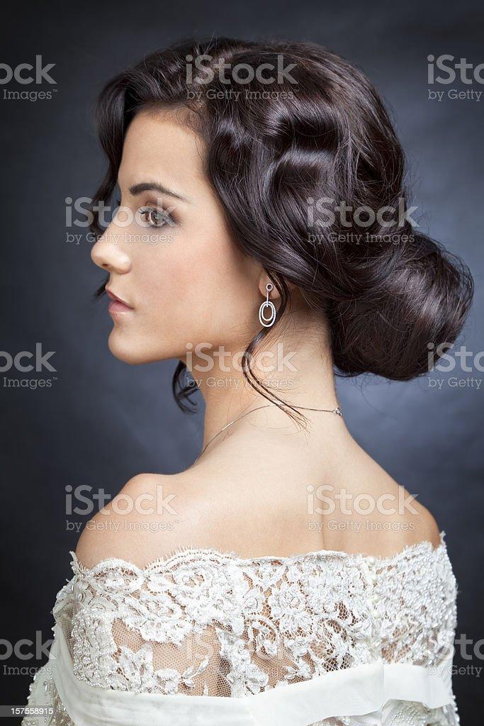 Bride with bun stock photo