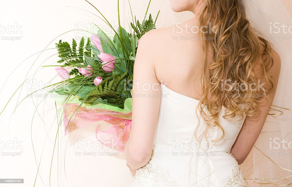 bride with bunch of tulips royalty-free stock photo