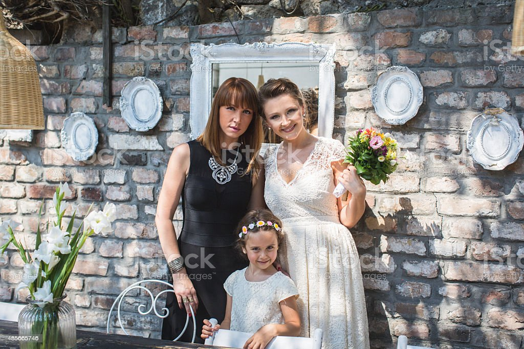 Bride with family stock photo
