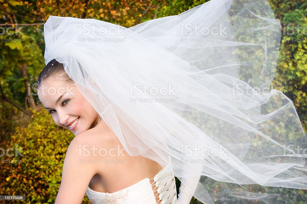 bride with fly veil royalty-free stock photo