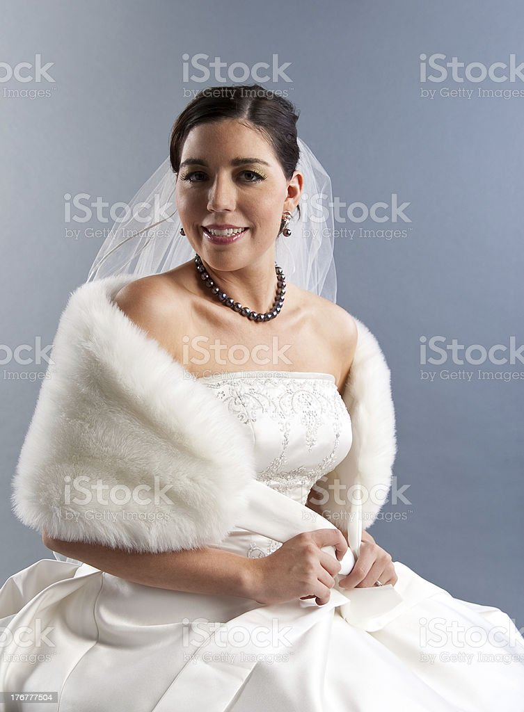Bride with Fur Wrap royalty-free stock photo