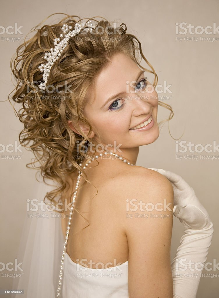 Bride with hand near her shoulder XL royalty-free stock photo