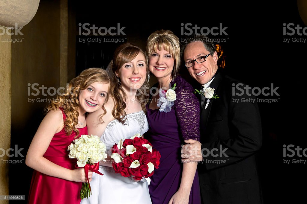 Bride With Her Family stock photo