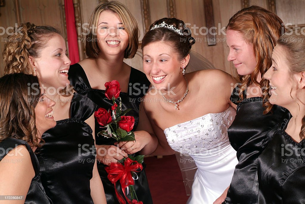 Bride with her Five Bridesmaids in a Church royalty-free stock photo