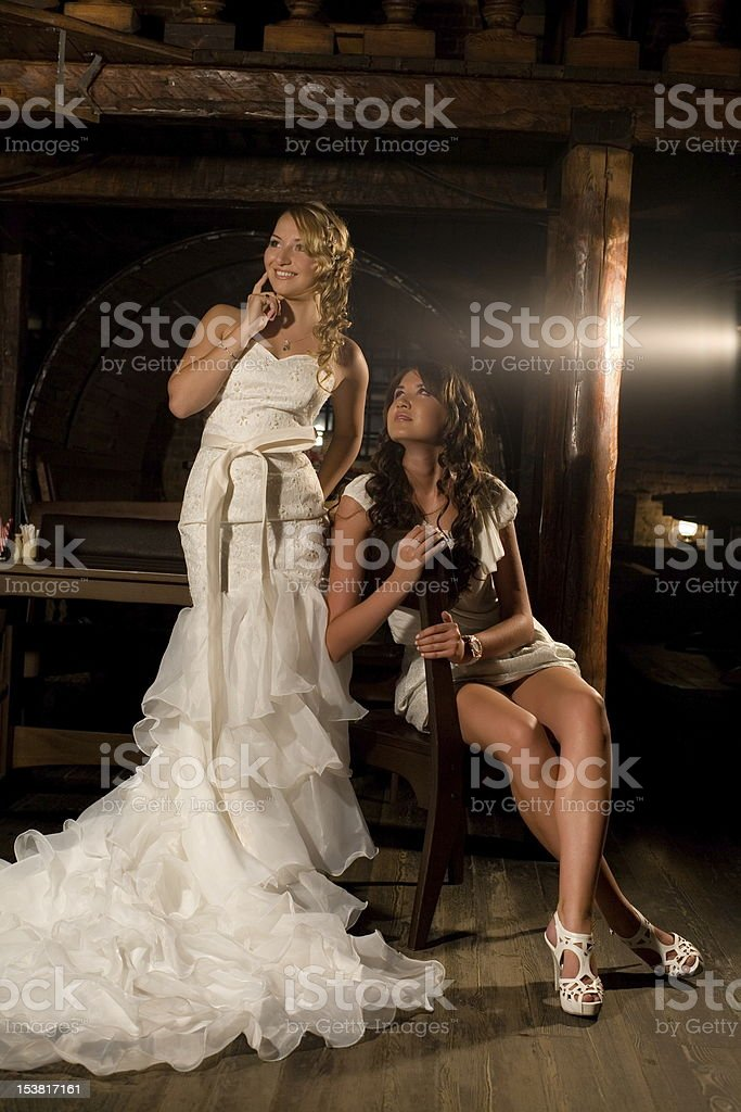 bride with her friend royalty-free stock photo