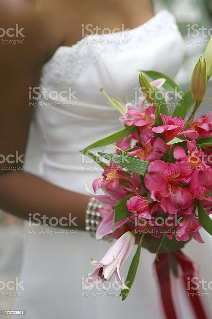 Bride with pink bouquet royalty-free stock photo
