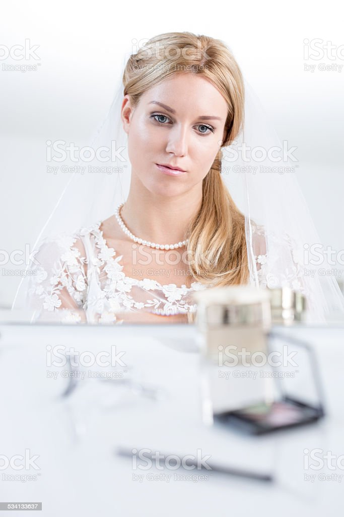 Bride worrying before big day stock photo