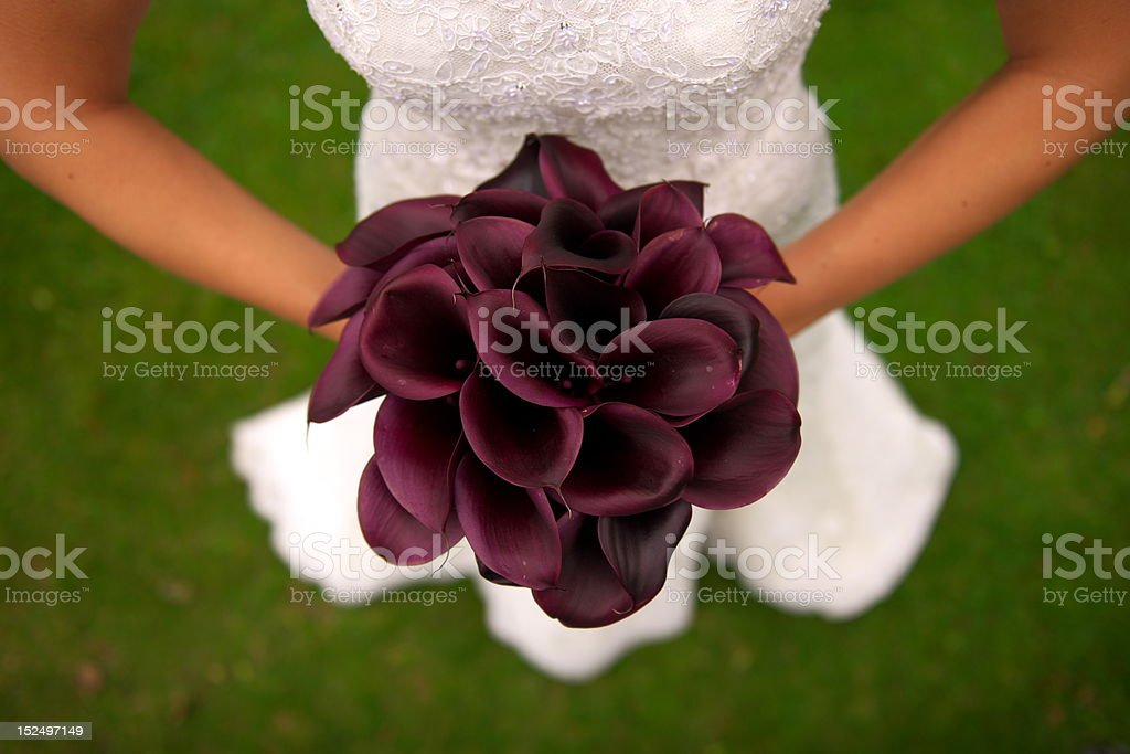Bride's bouquet from above royalty-free stock photo