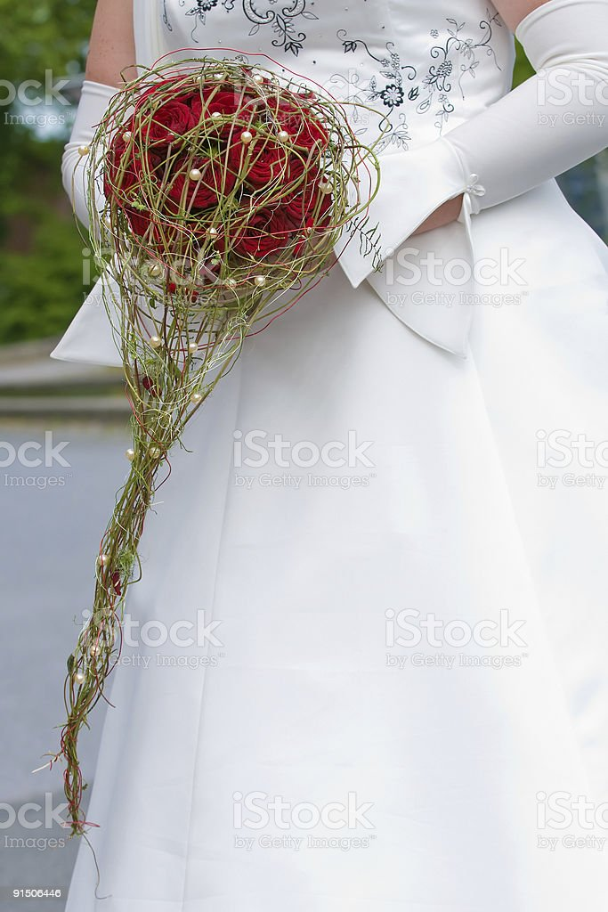 Brides Bouquet of red coloured roses royalty-free stock photo