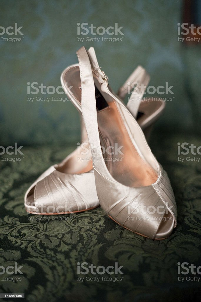 Bride's Formal High Healed Shoes Beautiful Fashion royalty-free stock photo
