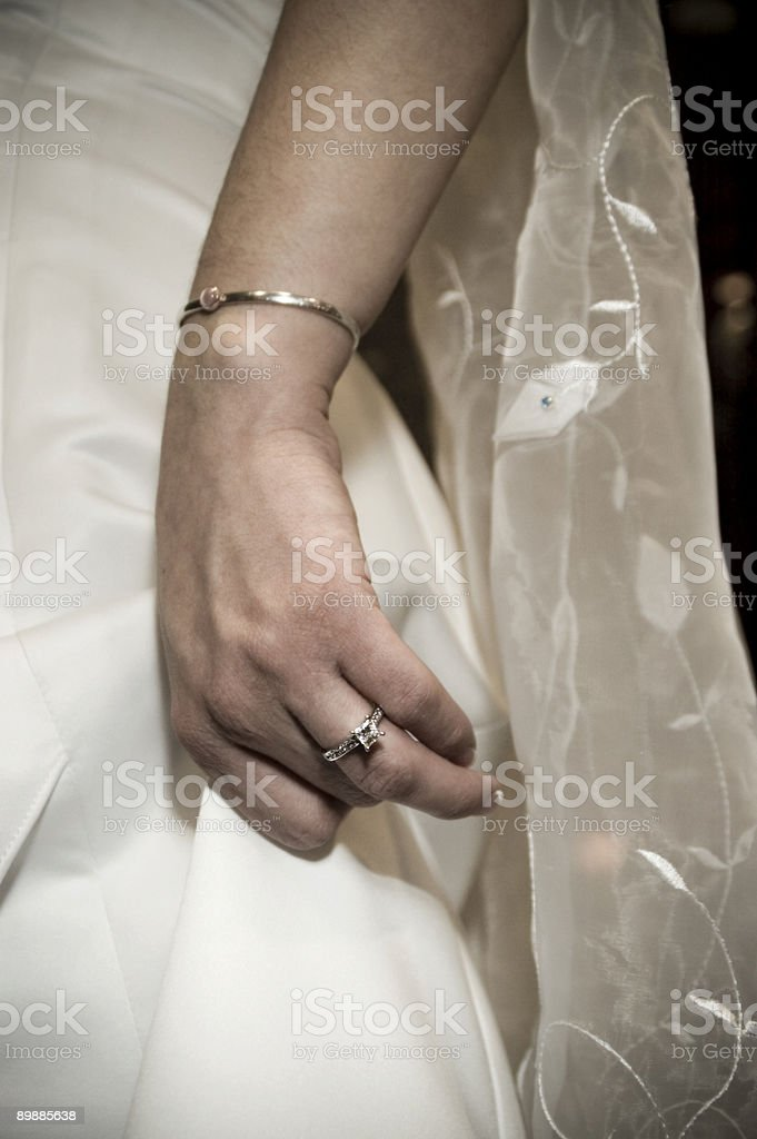 Bride's Hand and Veil royalty-free stock photo