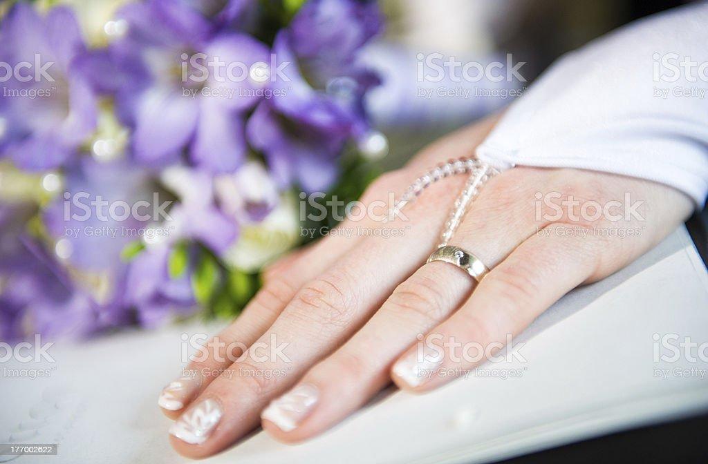 Bride's hand royalty-free stock photo