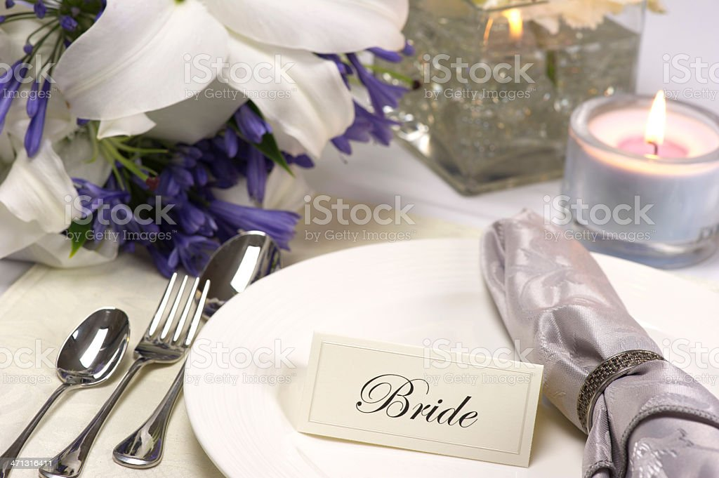 Bride's Place Setting at a wedding reception royalty-free stock photo