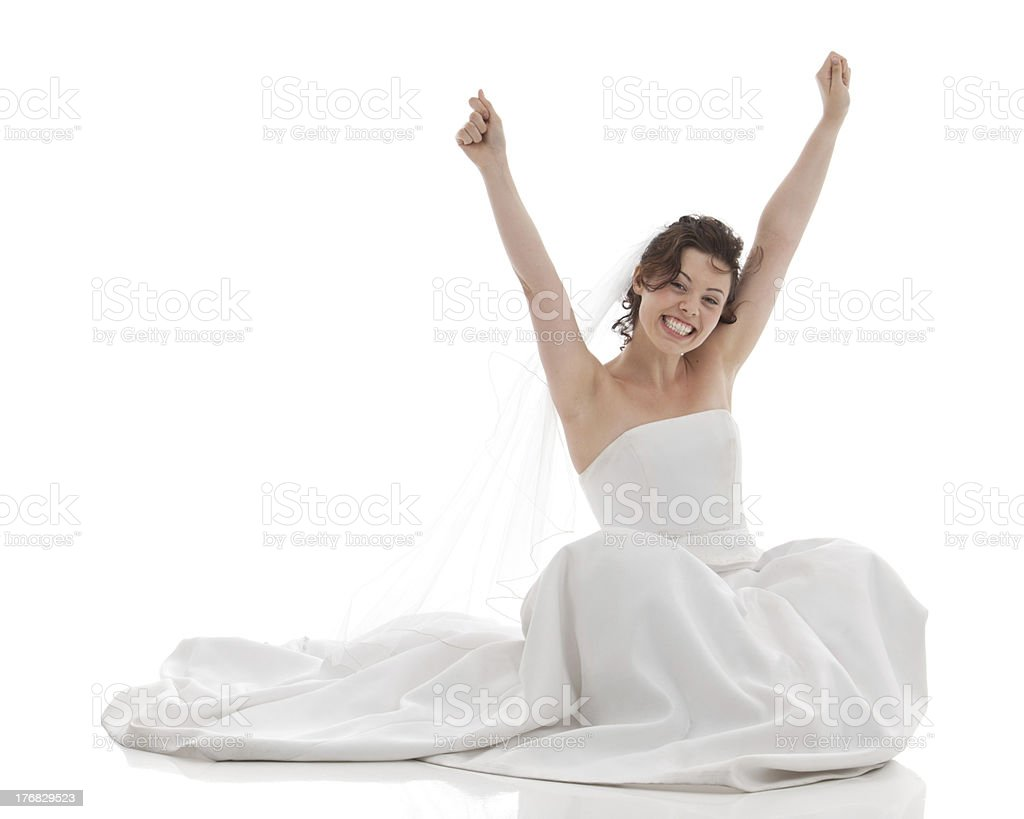 Bride's Portrait: I did it! stock photo