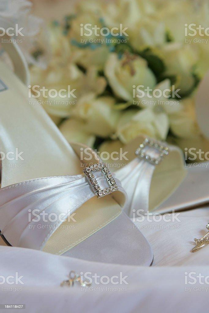 Bride's shoe detail royalty-free stock photo